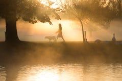 Wczesny poranek mgła nad jeziorem z przechodniami obok i mgła Zdjęcie Royalty Free