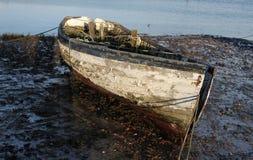 Wczesny Poranek, przypływy out, Stara łódkowata scena obrazy stock
