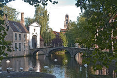 Wczesny poranek scena przy Bruges, Belgia Obrazy Royalty Free