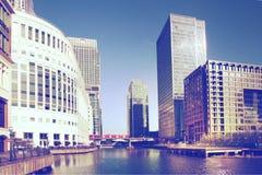 Wczesny poranek w Canary Wharf aria Zdjęcia Royalty Free