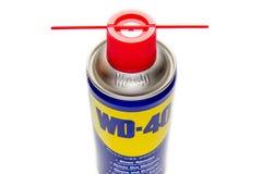 WD-40 è il nome di marchio di fabbrica di un olio penetrante e spruzzo di acqua spostamento fotografia stock
