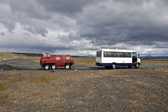 4wd adventure, Iceland. Special constructed touristic bus and special 4wd vehicle for difficult terrain inside inner territory of Iceland Royalty Free Stock Image