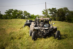 4wd buggy car for extreme off-road shot on steppe, Almaty, Kazak Royalty Free Stock Photography