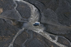4WD car wades river in Landmannalaugar, South Iceland Stock Images