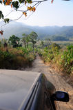 4WD Crossing Mountain. 4wd pick up driving in the mountain, Thailand Royalty Free Stock Images