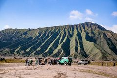 4WD Offload on Jeep in Mt. Bromo stock photography