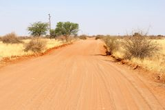 4WD sand road Kalahari desert, Namibia Royalty Free Stock Photos