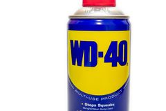 WD-40 is the trademark name of a penetrating oil and water-displacing spray. SELANGOR, MALAYSIA - August 9th, 2018: WD-40® Multi-Use Product protects metal stock photo