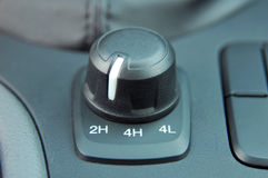 4wd and 2wd selector switch. In off road car Royalty Free Stock Photo