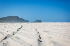 4wd Wheel tracks on the beach Stock Images