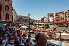 Wds of peoples under the bridge Rialto Bridge Royalty Free Stock Photo