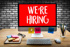 WE'RE HIRING   Business Team and Group of People Message Talki Stock Photography