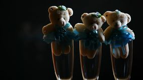Wełny hd niedźwiadkowy szampański szklany materiał filmowy zbiory wideo