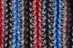 Wełna szalika błękitnej czerwieni bielu trykotowi kolory Obrazy Royalty Free