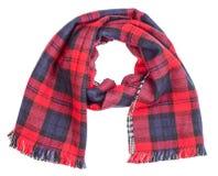 Wełna tartanu szkockiej kraty czerwony szalik odizolowywający Obraz Royalty Free