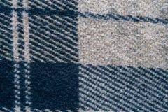 Wełny ampuły koc tła tkaniny grey tekstura W kratkę lampas Obrazy Royalty Free