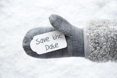Wełny rękawiczka, etykietka, śnieg, teksta Save data zdjęcie royalty free