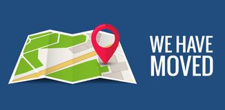 Free We Have Moved New Office Icon Location. Address Move Change Location Announcement Business Home Map Stock Photo - 138354510