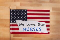 Free We Love Our Nurses Sign Health Care Workers Apprieciation Message Stock Photography - 178498402