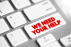 Free We Need Your Help Text Button On Keyboard, Concept Background Stock Photography - 217786532
