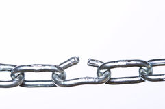 Weak link. In a chain, close-up with shallow depth of field Stock Photo