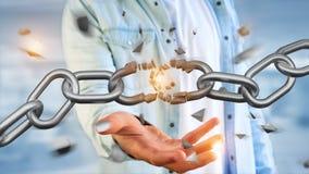 Weak link of a Broken chain exploding - 3d render. View of a Weak link of a Broken chain exploding - 3d render royalty free stock image