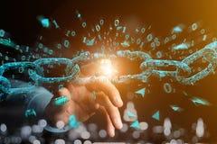 Free Weak Link Of A Broken Blockchain Exploding - 3d Render Stock Images - 106942274