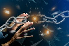Free Weak Link Of A Broken Chain Exploding - 3d Render Stock Photography - 107620682