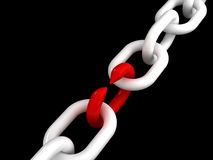 Weak point. Fine 3d image of white chain and weak red point Royalty Free Stock Photos