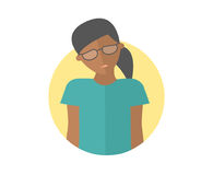 Weak, sad, depressed black girl in glasses. Flat design icon. Pretty woman with feeble depression emotion. Simply editable isolate Stock Photography