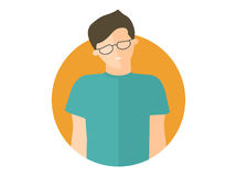 Weak, sad, depressed boy in glasses. Flat design icon. Handsome man with feeble depression emotion. Simply editable isolated on wh. Ite vector sign Royalty Free Stock Photo