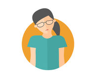 Weak, sad, depressed pretty girl in glasses. Flat design icon. Woman with feeble depression emotion. Simply editable isolated on w Stock Photography
