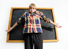 Weak schoolboy Royalty Free Stock Photo