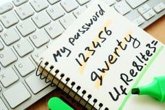 Weak and strong password. Password management. Weak and strong password royalty free stock photo