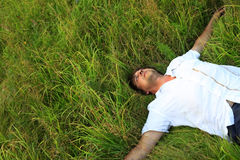 Weakening in a grass Stock Photography
