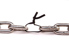 The weakest link. A metal chain with one of the links replaced by a rubber band Stock Photo