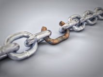 Weakest Link. A chain with a broken link highlighted red to highlight the weak link Stock Photo