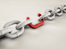 Weakest Link. A chain with a broken link highlighted red to highlight the weak link Stock Image