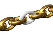 Weakest link in the chain. On a white background royalty free illustration