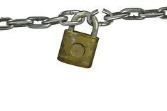 Weakness broken link. Lock with chain, chain has broken link Stock Photography