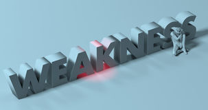 Weakness - 3d render lettering sign, near tired depressed man, i Royalty Free Stock Photos