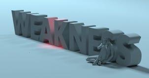 Weakness - 3d render text sign, near sad stressed man, illustrat Stock Photos