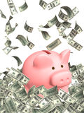 Wealth. Piggy bank and falling dollars banknotes Royalty Free Stock Photo
