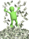 Wealth. Happy puppet and a money rain. Isolated over white Stock Images