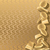 Wealth. Gold coins and goldbars on a gold dollar background Royalty Free Stock Photo