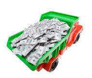 Wealth. Lorry full of money isolated on white stock image