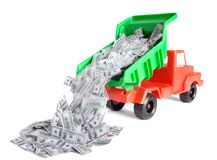 Wealth. Lorry unload money isolated on white royalty free stock images