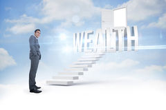 Wealth against steps leading to open door in the sky Royalty Free Stock Images