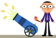 Wealth from cannon. A business man firing dollar signs out from a cannon Royalty Free Stock Photography