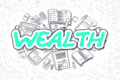 Wealth - Cartoon Green Text. Business Concept. Doodle Illustration of Wealth, Surrounded by Stationery. Business Concept for Web Banners, Printed Materials Stock Images